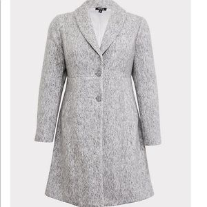 Torrid 4 Marled Light Grey Hacci A-Line Coat NWT
